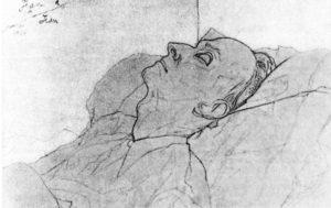 Dessin mortuaire, par Jean Cocteau